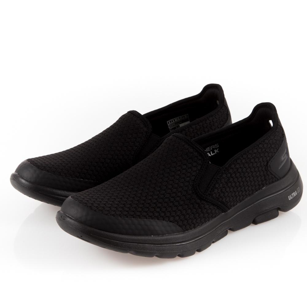 SKECHERS GO WALK 5 男鞋 休閒 健走 輕量 回彈 套入式 懶人鞋 全黑-55510BBK