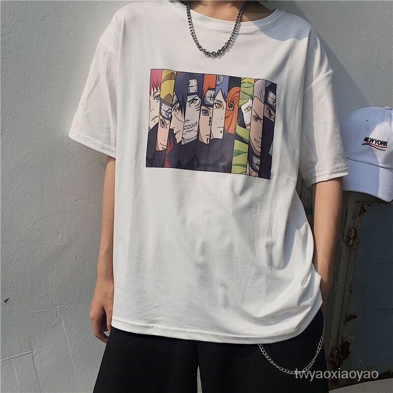 男短袖風學生潮日系原宿T恤圓領動漫寬鬆夏季情侶衫