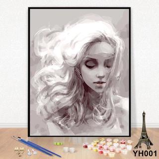 【爆款下殺】數字油彩畫diy臥室客廳掛畫大幅人物手工繪填色裝飾畫 夢想女孩 油畫 YH001 桃園市