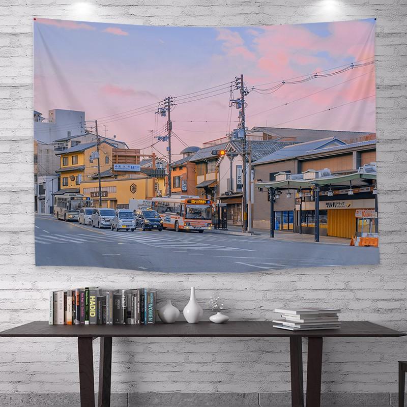 日式風景街道ins背景布學生宿舍床頭裝飾掛布網紅直播背景掛毯