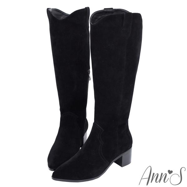Ann'S防水絨布-超修身V口顯瘦粗跟西部及膝長靴4.5cm-黑(2款)