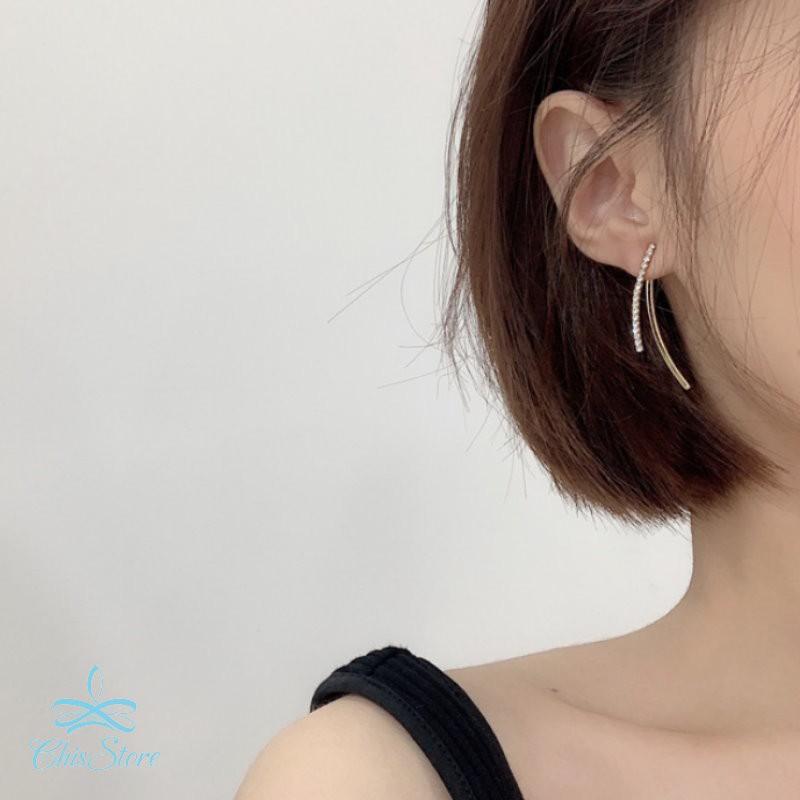 【水鑽雙流線耳環】925純銀耳針耳環 Chis Store 一式兩戴 韓國飾品 線條弧線 氣質 優雅 簡約