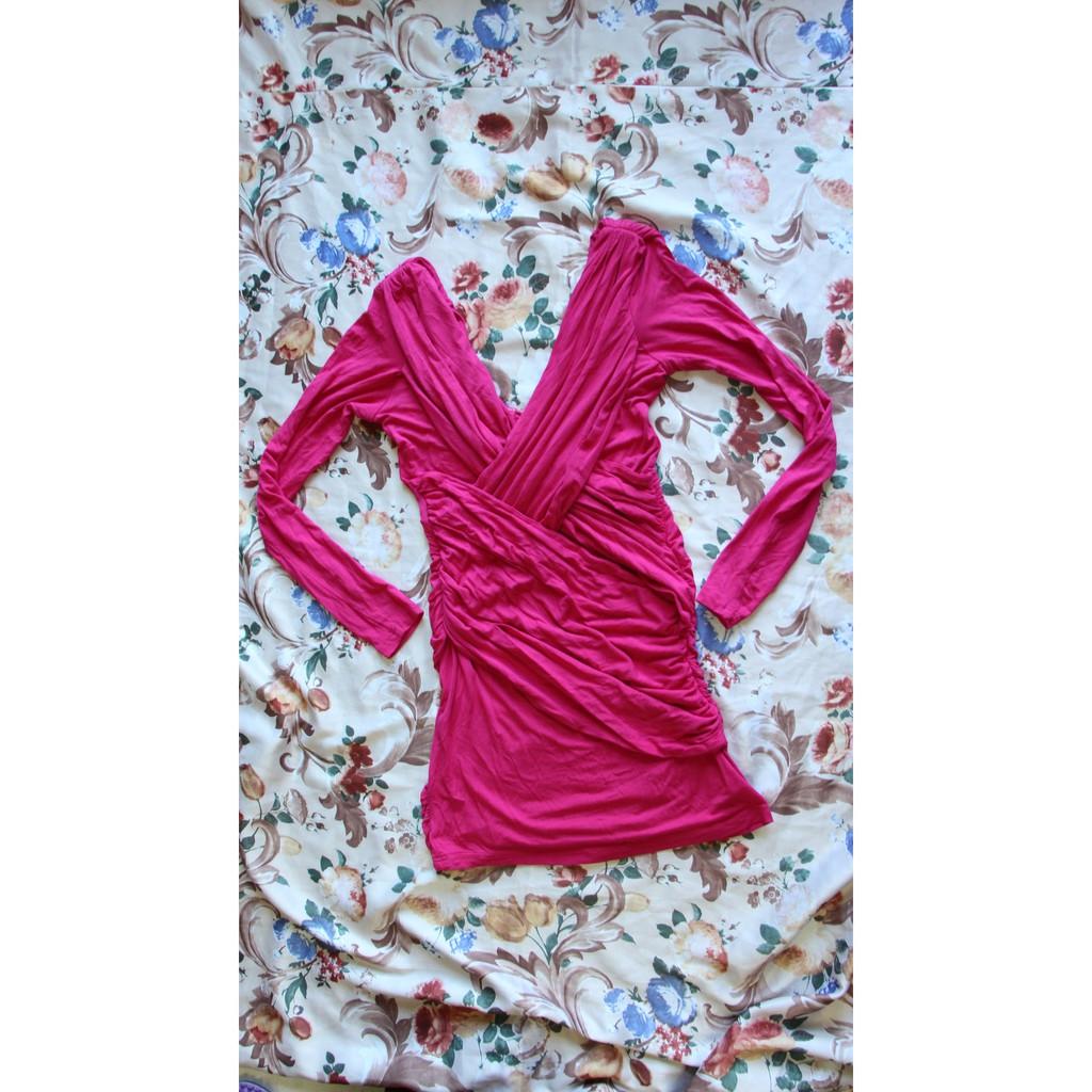 findersKEEPERS 桃紅棉質貼身抓皺長袖洋裝34號