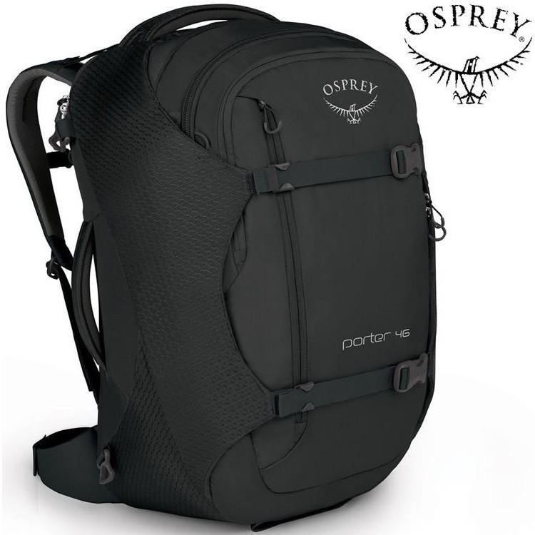 Osprey Porter 46 登機包/行李袋/旅遊行李後背包 46L 肩帶可收納 黑