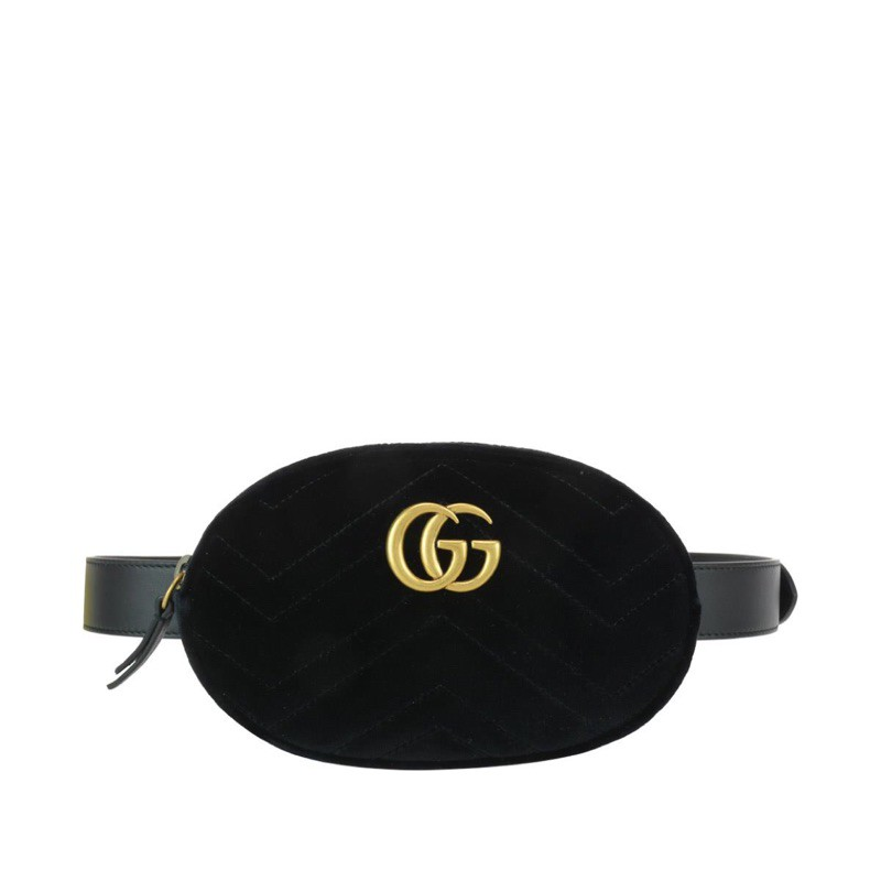 VIP Gucci Marmont 絲絨黑色腰包