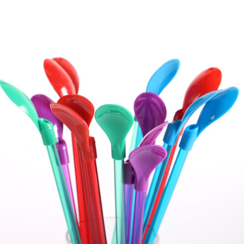 可拆卸PETG彩色吸管勺子PS塑料冰激淩雪頂甜品吸管勺