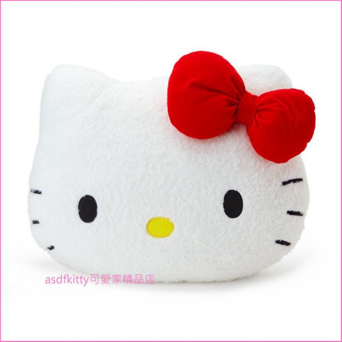 asdfkitty可愛家☆KITTY大臉造型大 抱枕/靠枕/靠墊/絨毛玩偶-日本正版商品