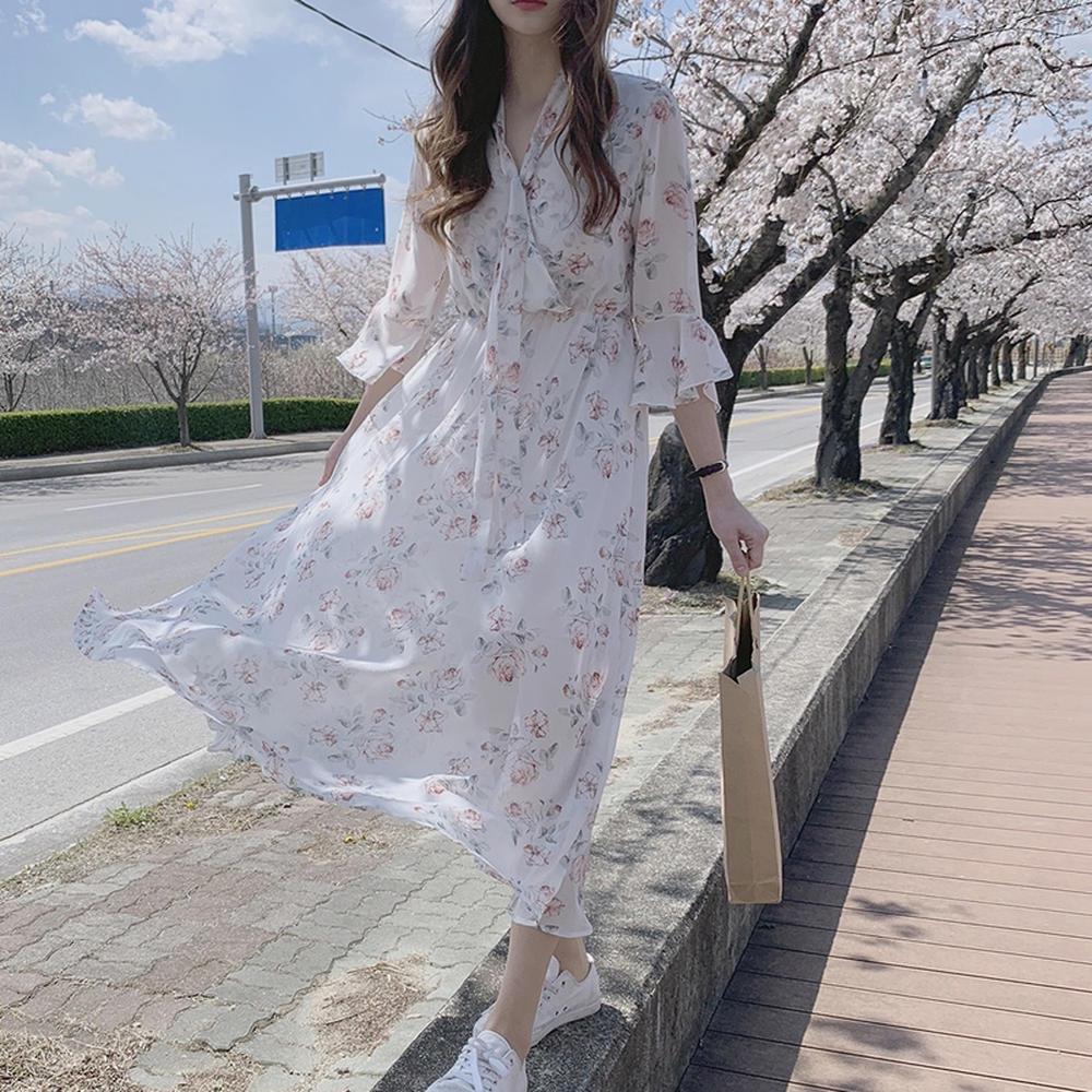 韓系雪紡碎花洋裝 婚禮洋裝推薦