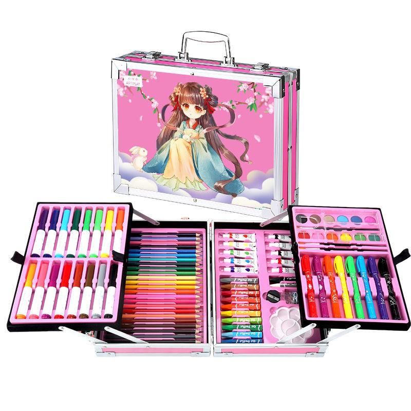 【全館免運】女孩兒童文具禮盒繪畫套裝水彩筆畫筆蠟筆水彩顏料禮物畫畫工具
