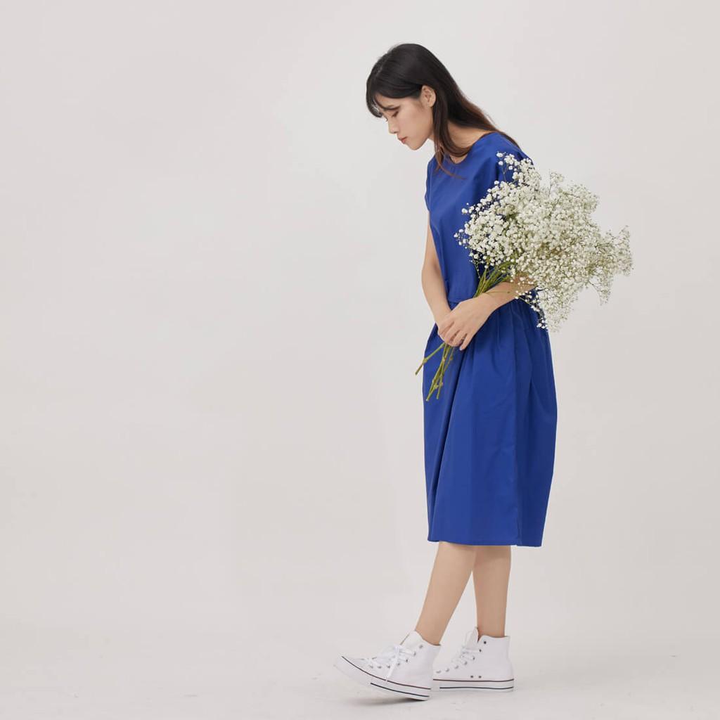 Marian純色圓領綁繩及膝洋裝/ 寶藍