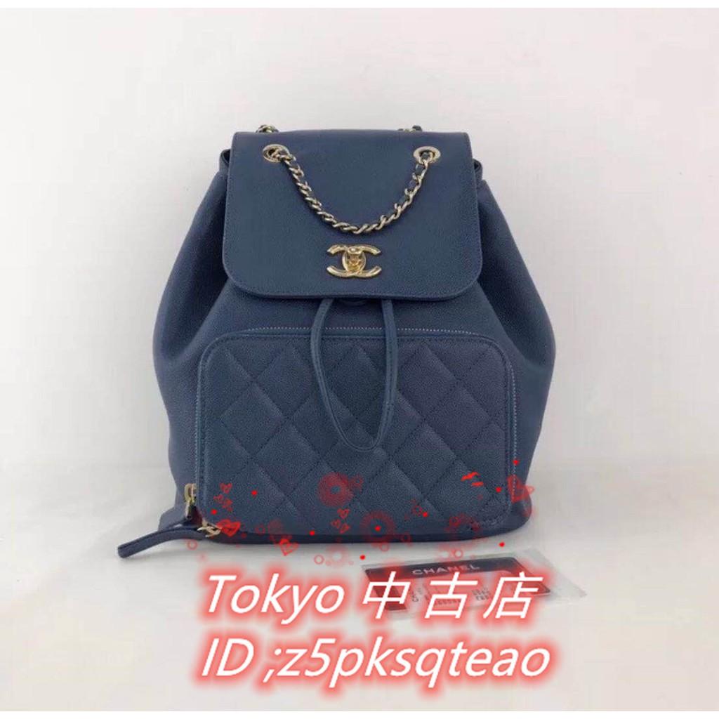 Tokyo中古店 Chanel 香奈兒 A93748 Backpack  荔枝紋 後背包