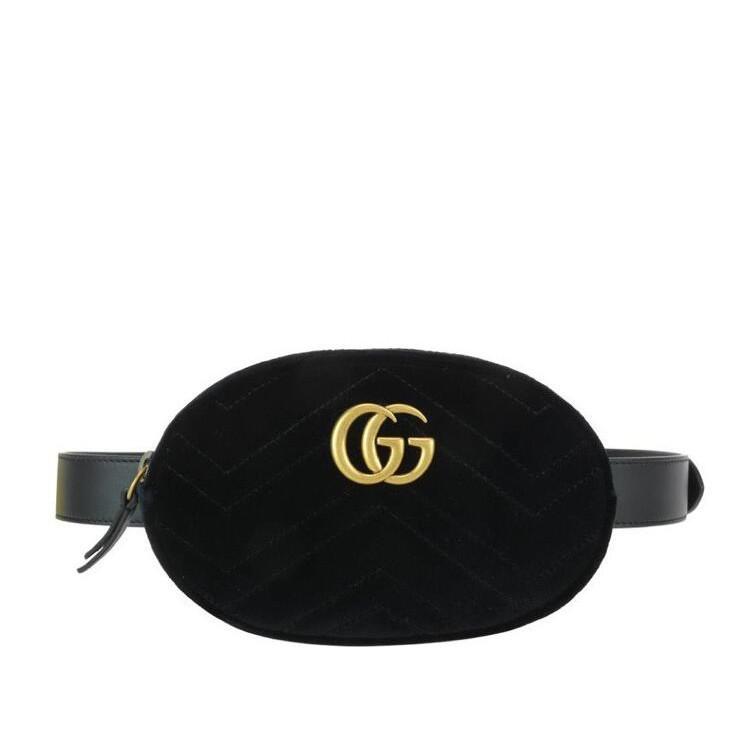 Gucci Marmont 絲絨黑色腰包