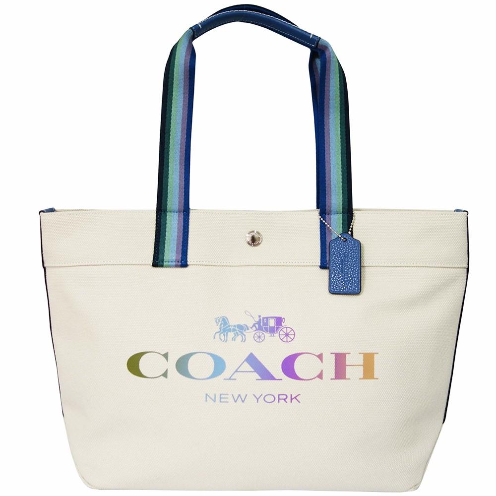 【COACH】馬車LOGO帆布托特包(米白色)