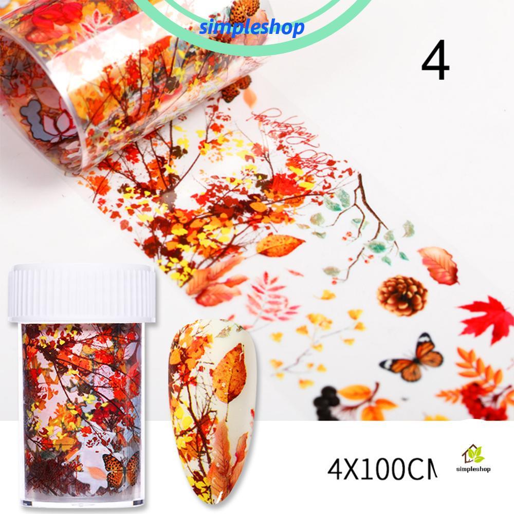 簡單的鋁箔葉子 Diy 秋季指甲轉移貼紙女士美容貼花時尚楓葉 / 1 盒
