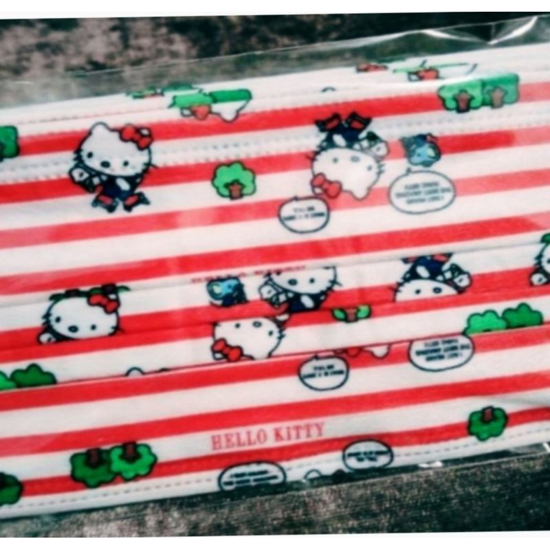 🔥現貨 熱賣🔥Kitty 口罩  Hello Kitty  凱蒂貓 (紅白條) 卡通口罩 (非醫用 ) 成人款