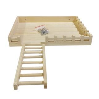 倉鼠站台帶梯子金絲熊實木二層平台倉鼠爬梯60籠站台47籠木製平台