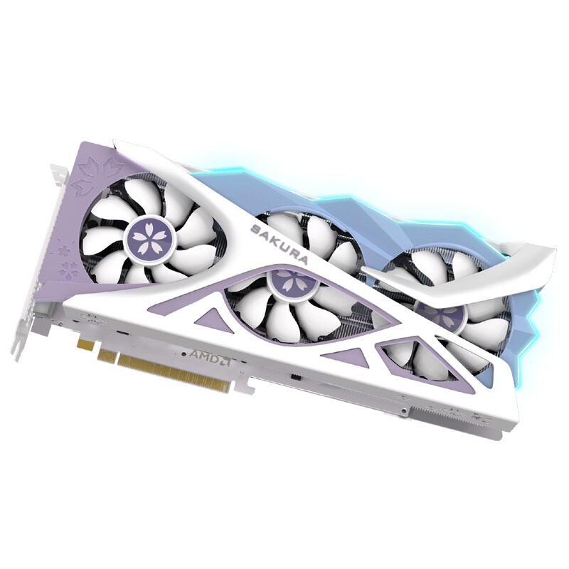 AMD盈通RX6700XT/6800XT櫻瞳花嫁六道兵甲桌上型電腦電腦獨立顯卡6800 O16G