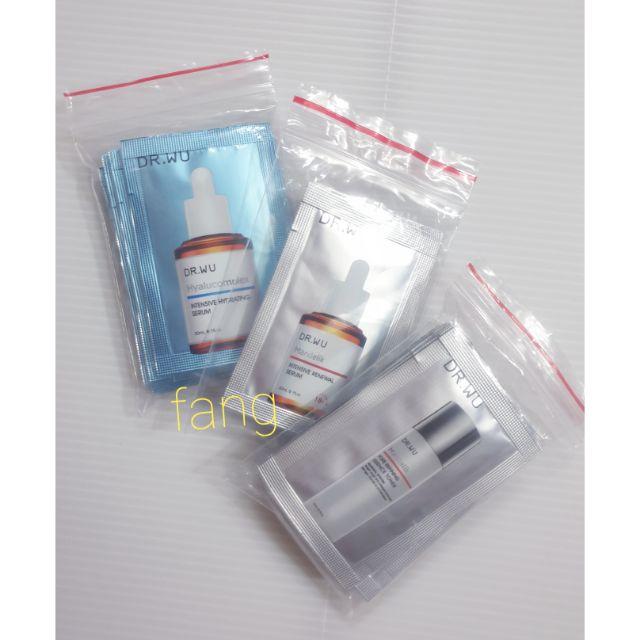 Dr.Wu 達爾膚 玻尿酸保濕精華液2ml/杏仁酸亮白煥膚精華18% 2ML/杏仁酸毛孔緊緻化妝水2ML體驗包