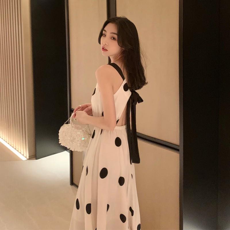 韓版氣質中長款大圓點無袖洋裝露背吊帶連身裙女法式複古收腰大擺裙子特价