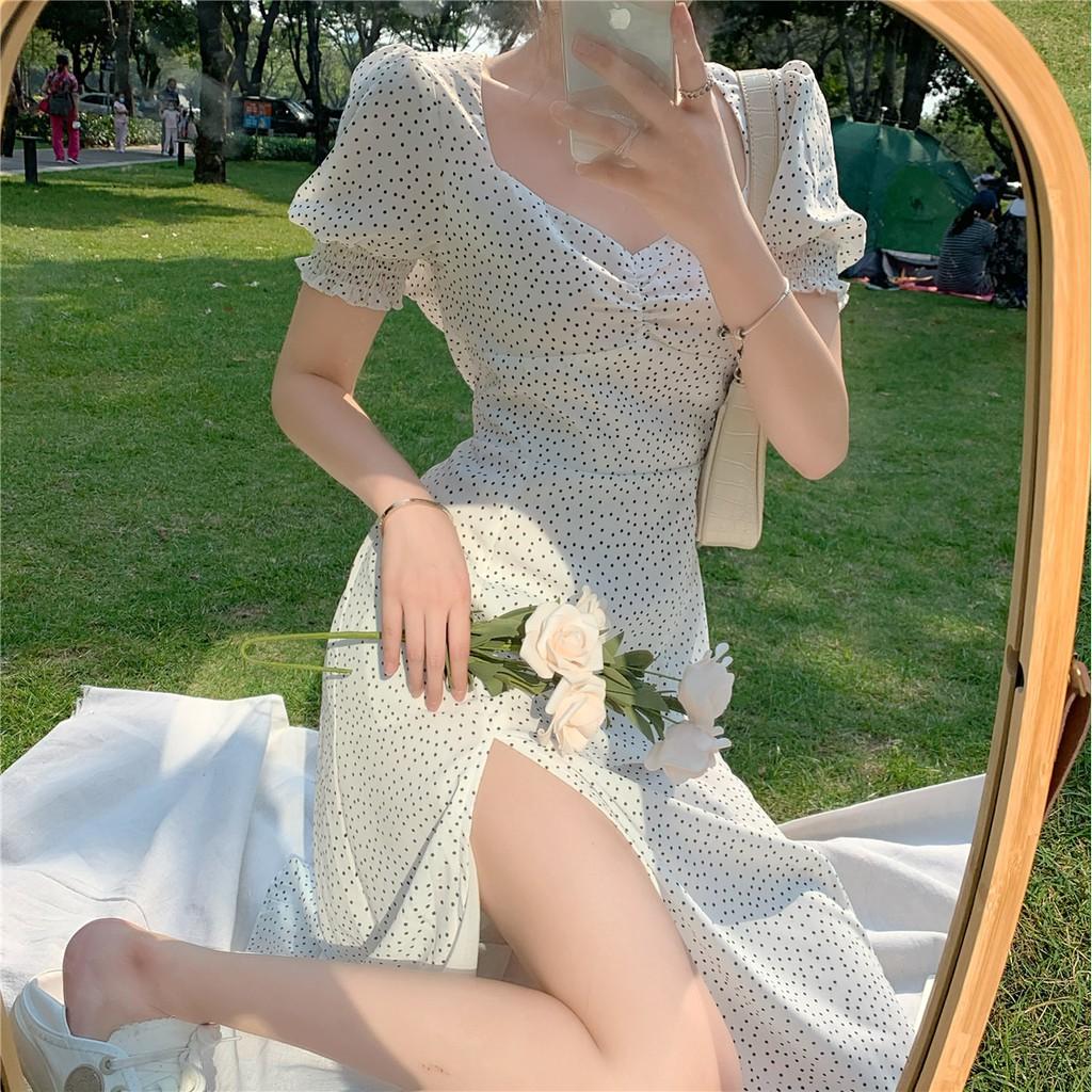新款韓版法式複古顯瘦開叉很仙的雪紡短袖波點連衣裙女