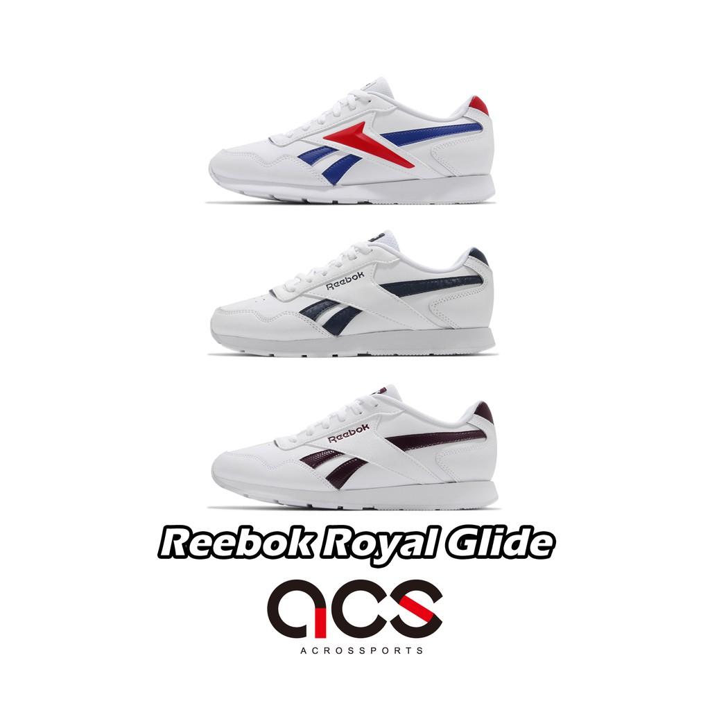 Reebok 休閒鞋 Royal Glide 白 藍 棕 任選 小白鞋 皮革 男女鞋 復古慢跑鞋 百搭款 【ACS】