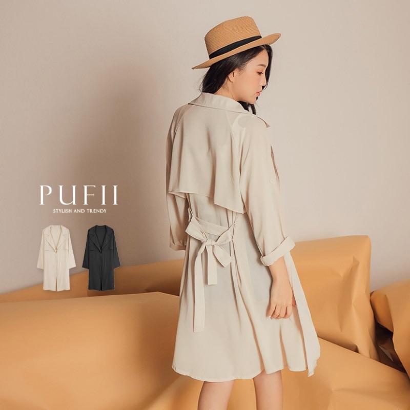 《現貨》 PUFII-薄外套 單釦翻領雪紡風衣外套-附綁帶