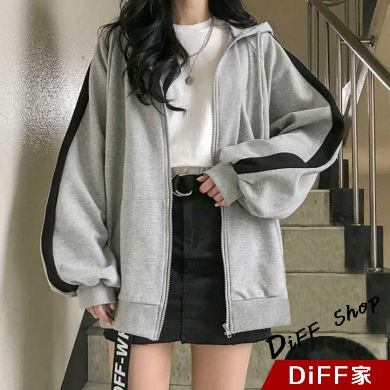 【DIFF】韓版連帽拼接學生風內內刷毛運動外套 連帽外套 棒球外套 長袖上衣 百搭外套 女裝 衣服 外套【J158】