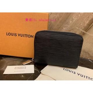 富源二手正品LV M60152 黑色 EPI 水波紋 拉鍊零錢包