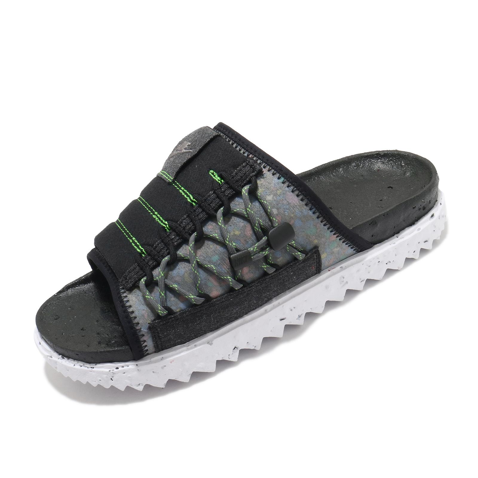 Nike 涼拖鞋 Asuna Crater Slide 回收材質 黑灰綠 男鞋 拖鞋 【ACS】 DJ4629-002