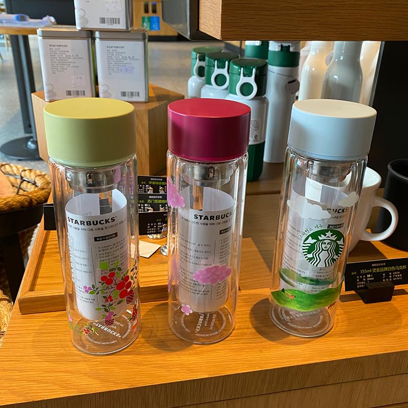 正品現貨速發 韓國星巴克杯子 雙層玻璃杯 隔熱帶茶漏 網紅馬克杯 泡茶便攜隨行杯 隨行杯 玻璃水杯 星巴克玻璃杯