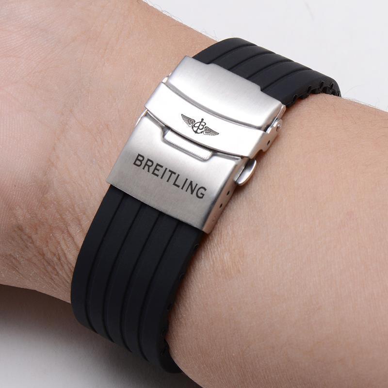 8-2✈適配Breitling百年靈復仇者矽膠錶帶 保險扣氟橡膠黑鳥海洋海狼22