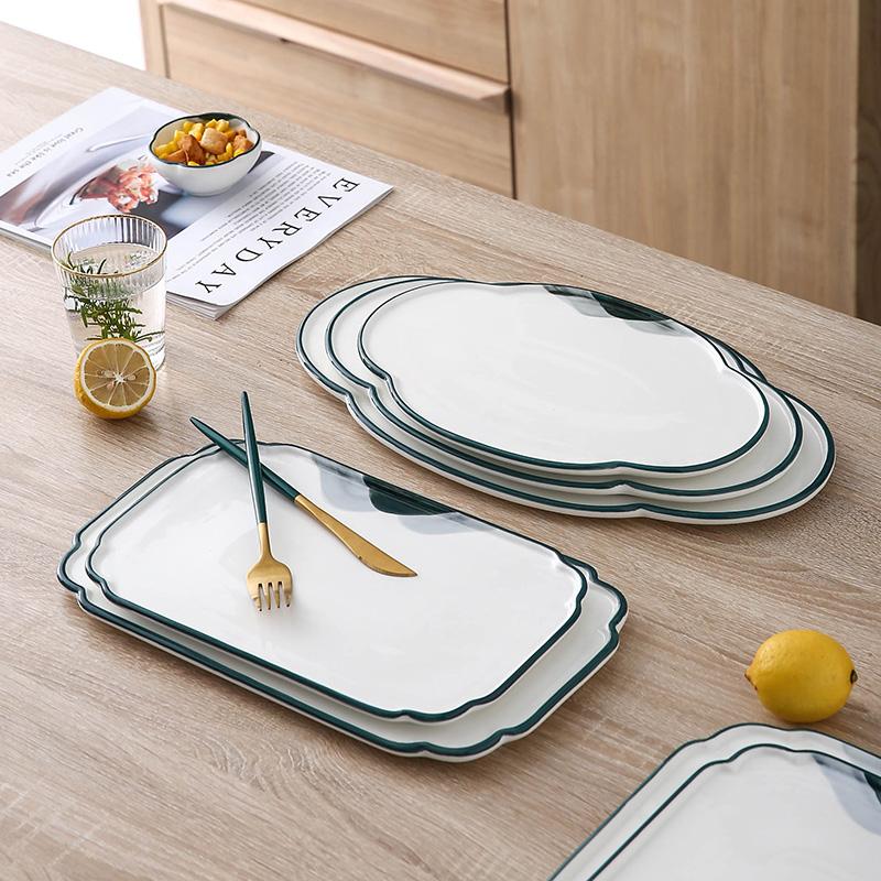 高級感牛排盤酒店西餐廳平板盤家用陶瓷中式涼菜盤具正方壽司飯店依依