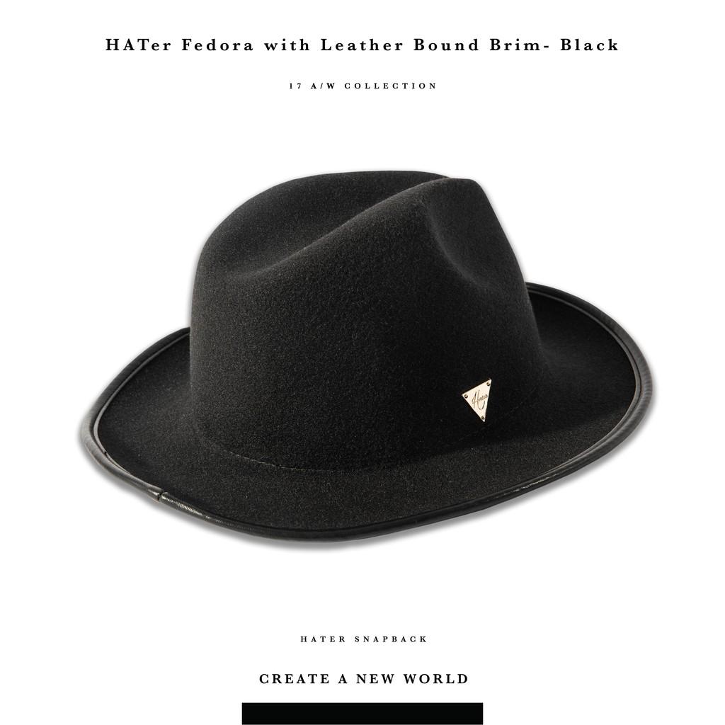 Hater Snapback 【HG17】 Fedora with Leather Bound Brim-黑-紳士帽