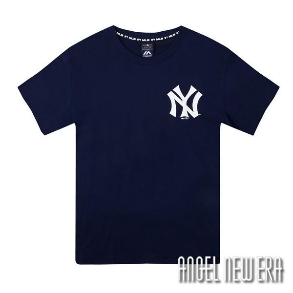 【Majestic】MLB NY 紐約 洋基 短T 復古Logo 藏青色 潮流 休閒 穿搭【ANGEL NEW ERA】