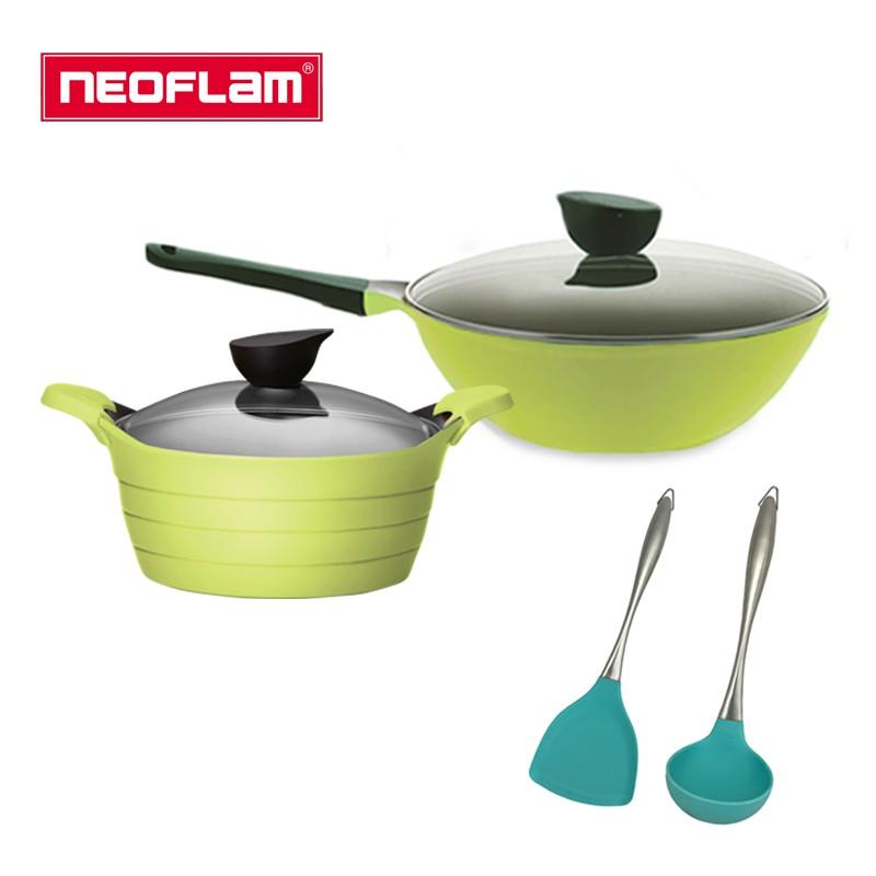 【NEOFLAM】韓國鍋具 EELA好用4件組(30cm單柄炒鍋+24cm雙耳湯鍋)_快點購