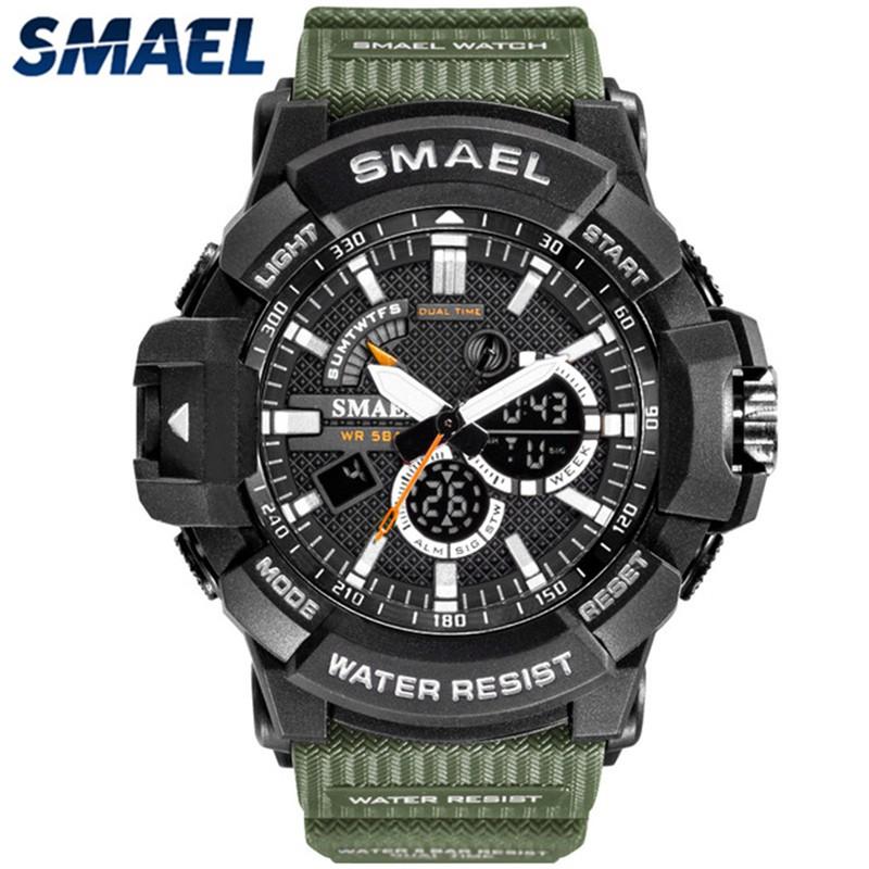 SMAEL運動手錶男模擬石英手錶男士軍用LED數字手錶防水炫酷多功能手錶