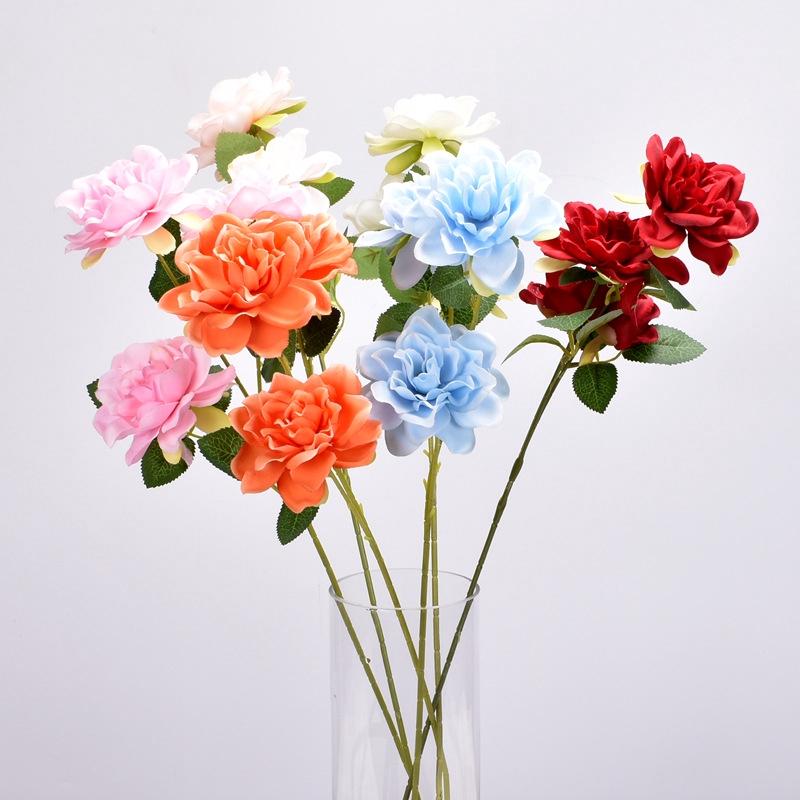 仿真高檔3頭梔子花 仿真花 人造花 人造裝飾花 婚慶仿真花 酒店布置裝飾花  家居裝飾 攝影道具 假花 仿真植物