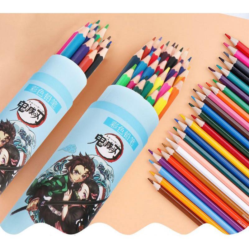 【現貨】(12色)鬼滅之刃 色鉛筆 筒裝色鉛筆 鬼滅之刃彩色鉛筆 炭治郎禰豆子鉛筆 六角鉛筆 寫字鉛筆 木質鉛筆 筆