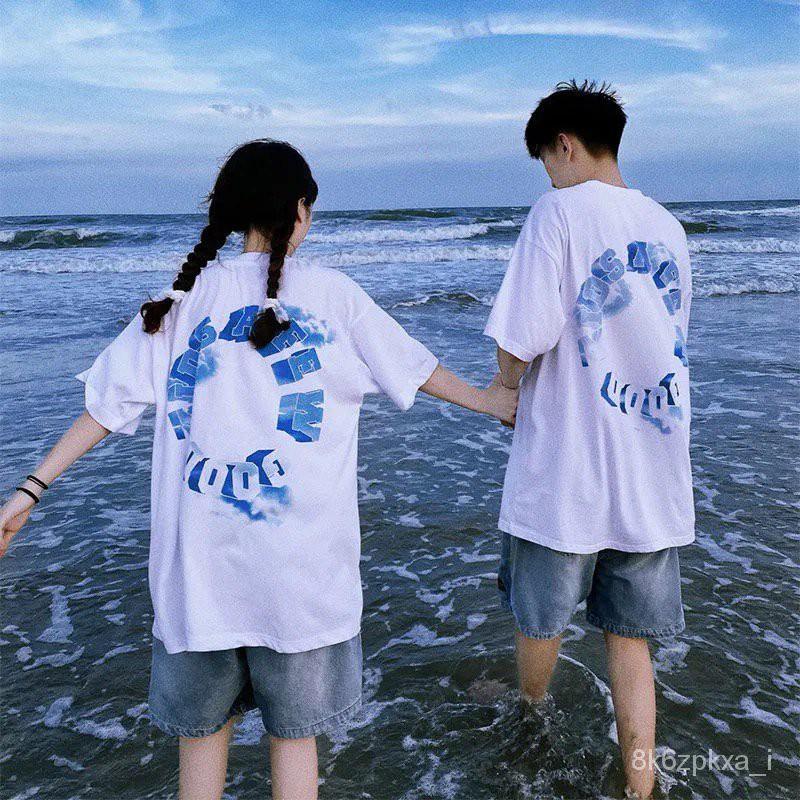 馬思唯情侶夏裝白色短袖T恤女寬鬆韓版潮牌ins設計感小眾半袖上衣 Seic