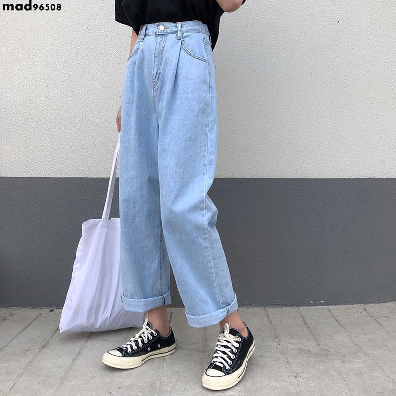 休閒褲 闊腿牛仔褲女2020春季新款韓版bf風學生高腰寬松淺色長九分直筒