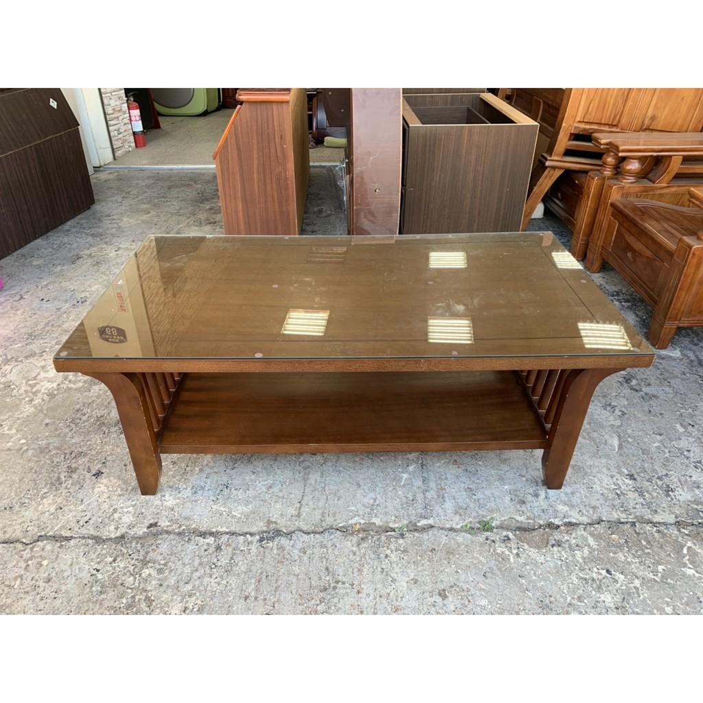 香榭二手家具*柚木色仿實木4.3尺 雙層大茶几(附玻璃)-茶几桌-矮桌-泡茶桌-邊桌-和室桌-餐桌-客廳桌-沙發桌-2手