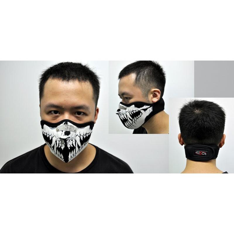 哈雷摩托騎行防風口罩骷髏面罩立體口罩泰國制魔鬼氈可調整有鐵片