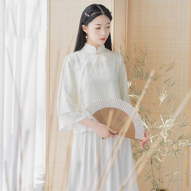 單/兩件套 唐裝中國風少女古風上衣民國風復古漢服改良版茶服套裝