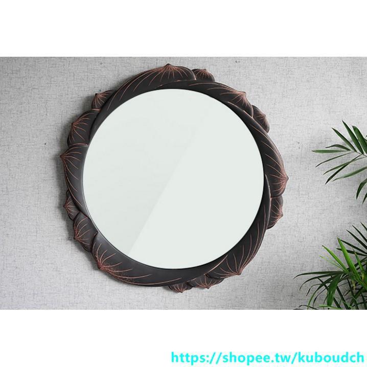 中式 浴室 鏡子 圓形 壁挂衛生間臥室梳妝洗漱台貼牆化妝創意藝術裝飾