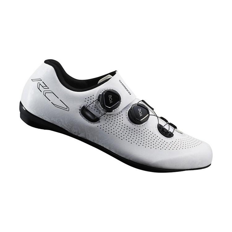 SHIMANO RC701 競賽級碳纖維男性公路車鞋 卡鞋(公司貨寬楦)(白)【7號公園自行車】