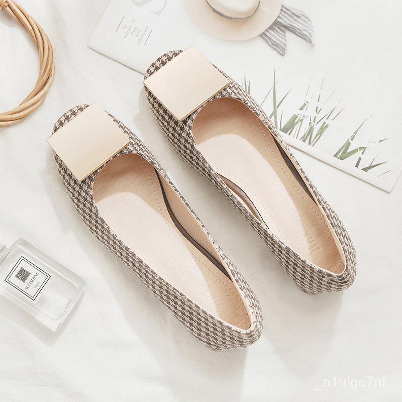 2021年春季新款百搭網紅淺口仙女晚晚風溫柔鞋中跟粗跟單鞋女平底