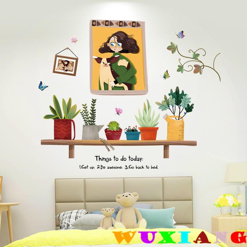 【五象設計】壁貼 貼紙 悠閒時光 卡通牆貼 兒童房 臥室客廳背景 裝飾可移除貼畫