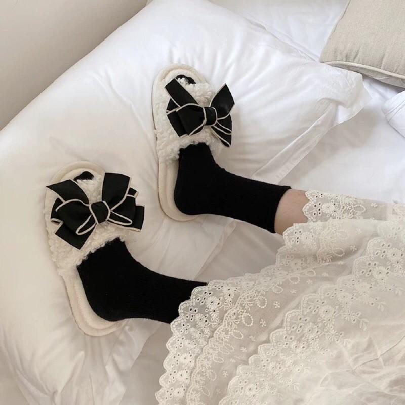 北歐風格居家室內拖鞋羔羊毛毛蝴蝶結拖鞋