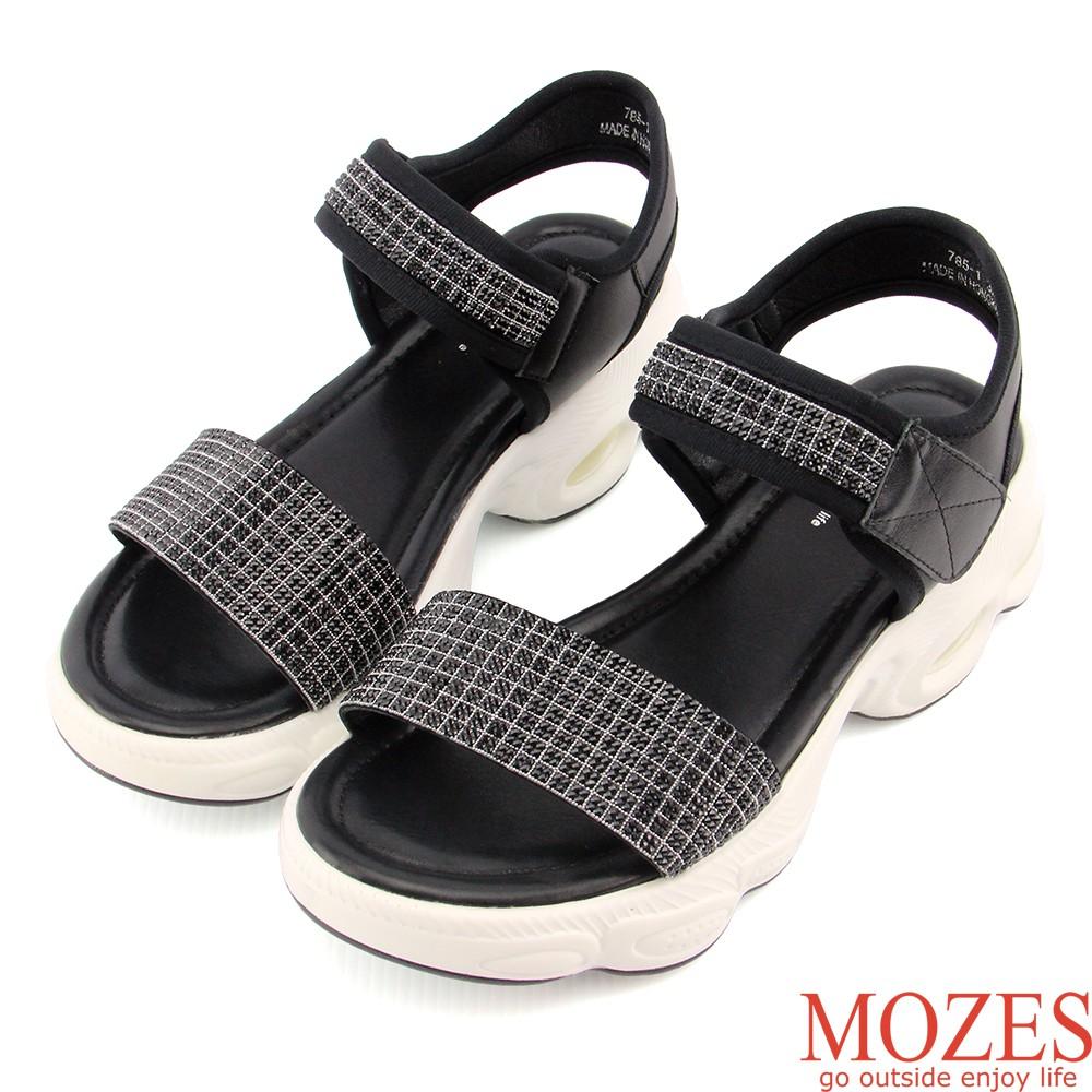 【MOZES】摩登時尚-鑲嵌水鑽厚底氣墊真皮涼鞋
