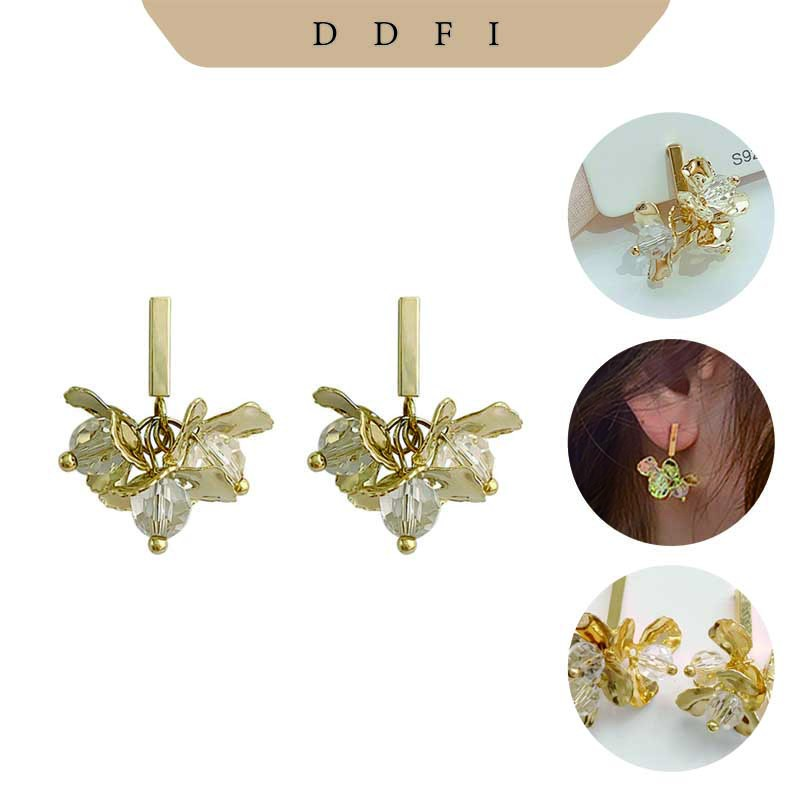 輕奢短款水晶耳釘【DDFI】2020 新款 個性 簡約 高級感 花朵 耳環 耳飾 B1B05